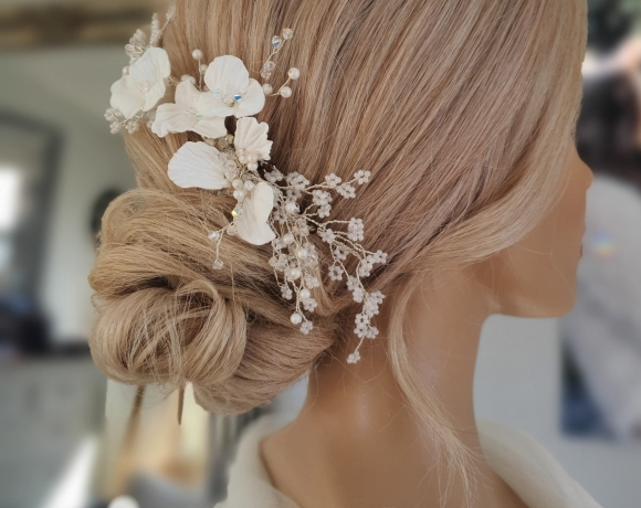 Low textured bun style for brides or bridesmaids