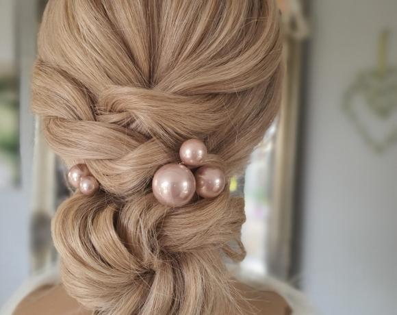 textured bridal chignon style for brides or bridesmaids