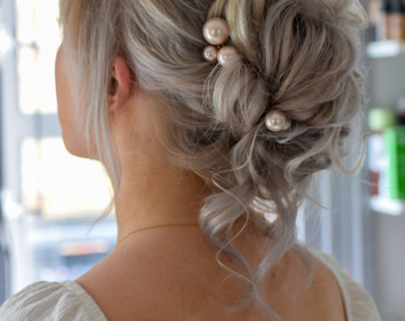Soft textured updo for brides or bridesmaids